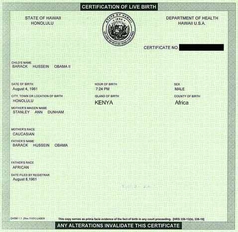 birth certificate obama. is his Birth Certificate?